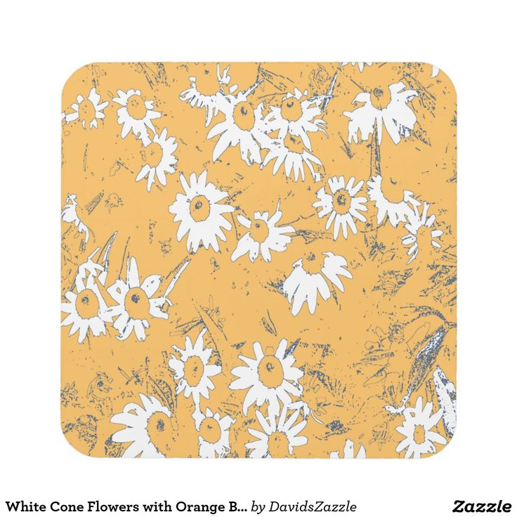 White Cone Flowers with Orange Background Acrylic Coaster Available on more products, type in the name of this design in the search bar on my products page to view them all!  #cone #daisy #shasta #calendula #floral #flower #orange #blue #white #grey #gray #pattern #print #all #over #abstract #plant #nature #earth #life #style #lifestyle #chic #modern #contemporary #home #decor #kitchen #dining