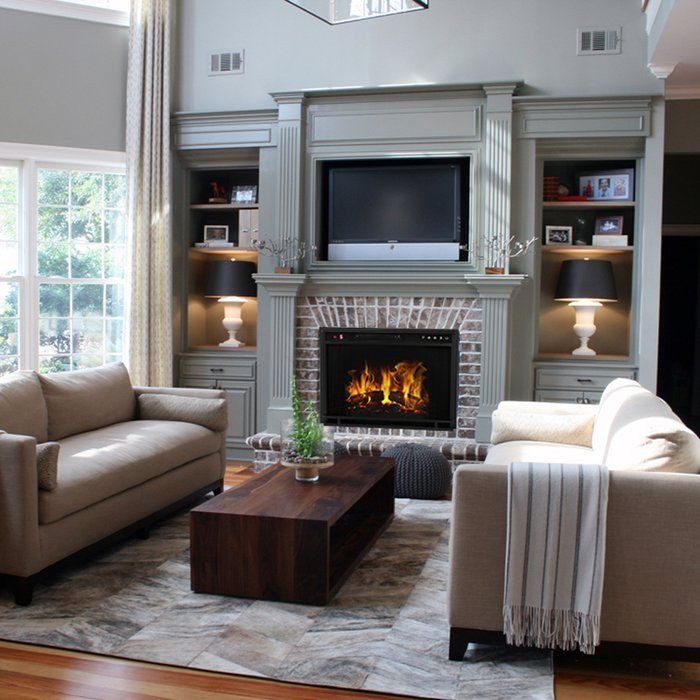 Gibbs Flat Electric Fireplace Insert Comfy Living Room Design