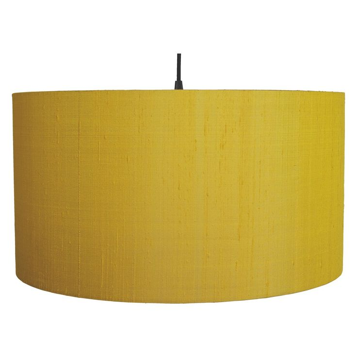 DRUM SILK Large saffron yellow silk lamp shade D49 x H24cm