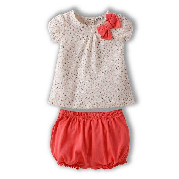 幼児赤ちゃんの女の子トップス+ショート2ピースセット衣装弓衣装ポルカドットtシャツ1-3y ql