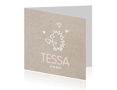 Mooi geboortekaartje met een egel voor een meisje. De combinatie van stoer vintage karton kraft met zoete roze tinten maken dit een heel bijzonder geboortekaartje voor de geboorte van jullie dochtertje.