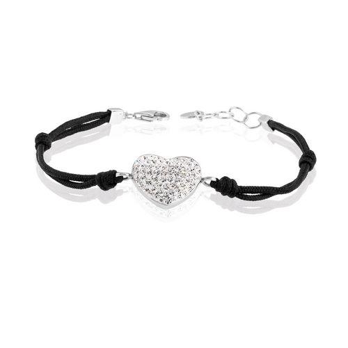 Bracciale con filo in cotone nero con resina e strass - cuore