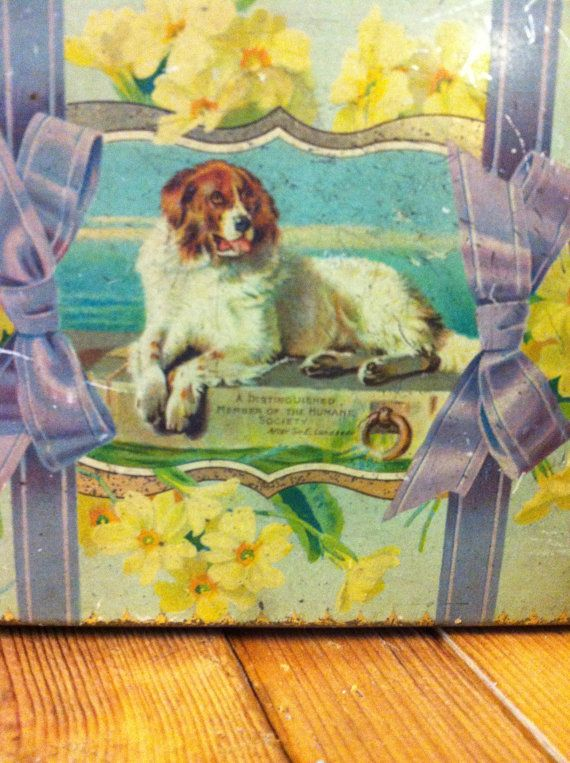"""Scarce """"Distinguished Member of the Humane Society"""" Dog Tin. Artwork by Sir Edwin Henry Landseer."""