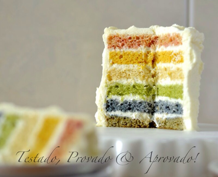 Rainbow cake with natural food colors