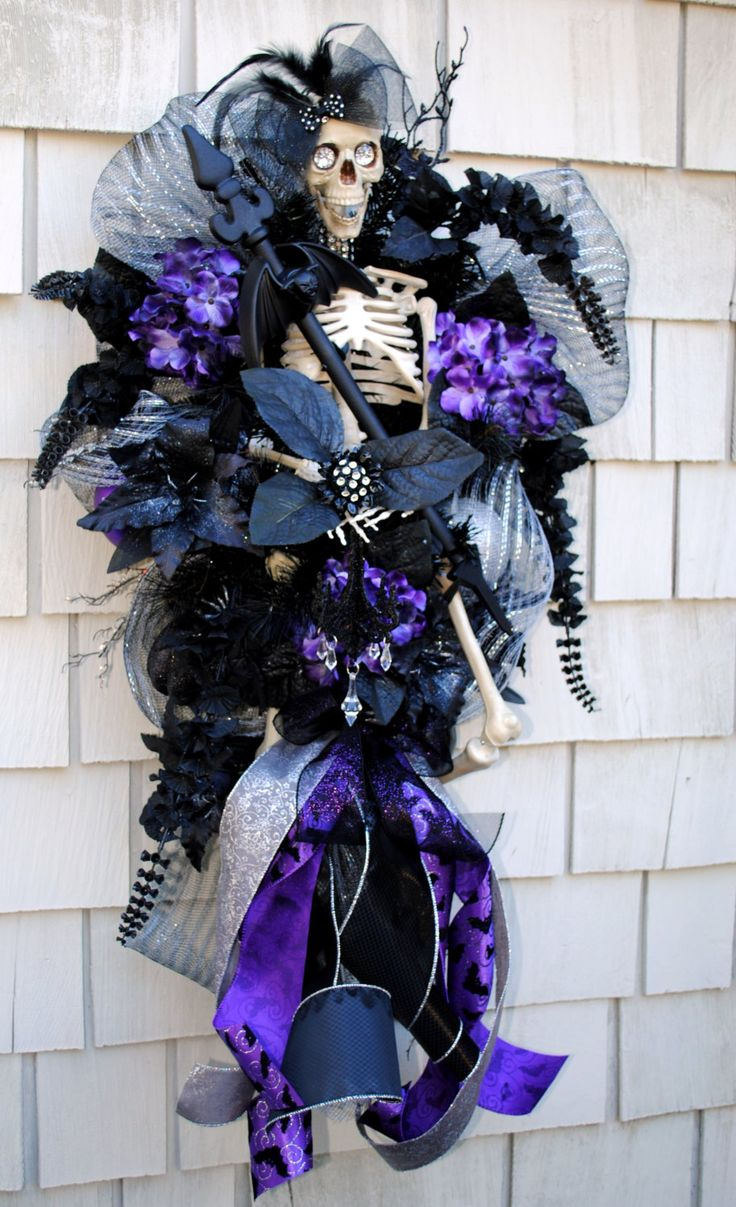 Halloween Wreath Spooky Victorian Witch 3 foot tall Skeleton Wreath Swag Bats Spiders Jewels Black Purple and Silver Ball and Chain by TisTheSeasonDesign on Etsy