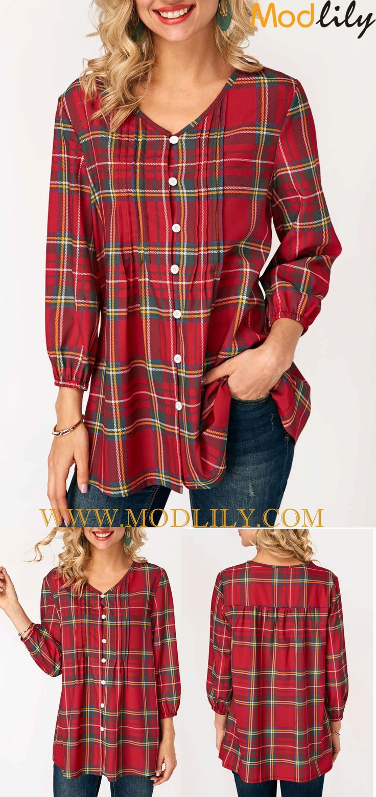 63bfd9cee36aa V Neck Plaid Print Button Up Blouse On Sale. Shop this plaid blouse.  Fashion and simple. And free shipping. Action now!