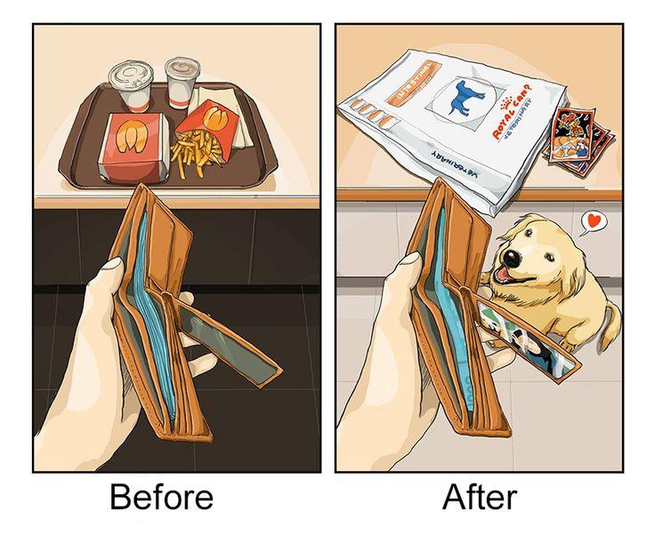 9 images qui illustrent votre quotidien avant/après l'arrivée de votre chien