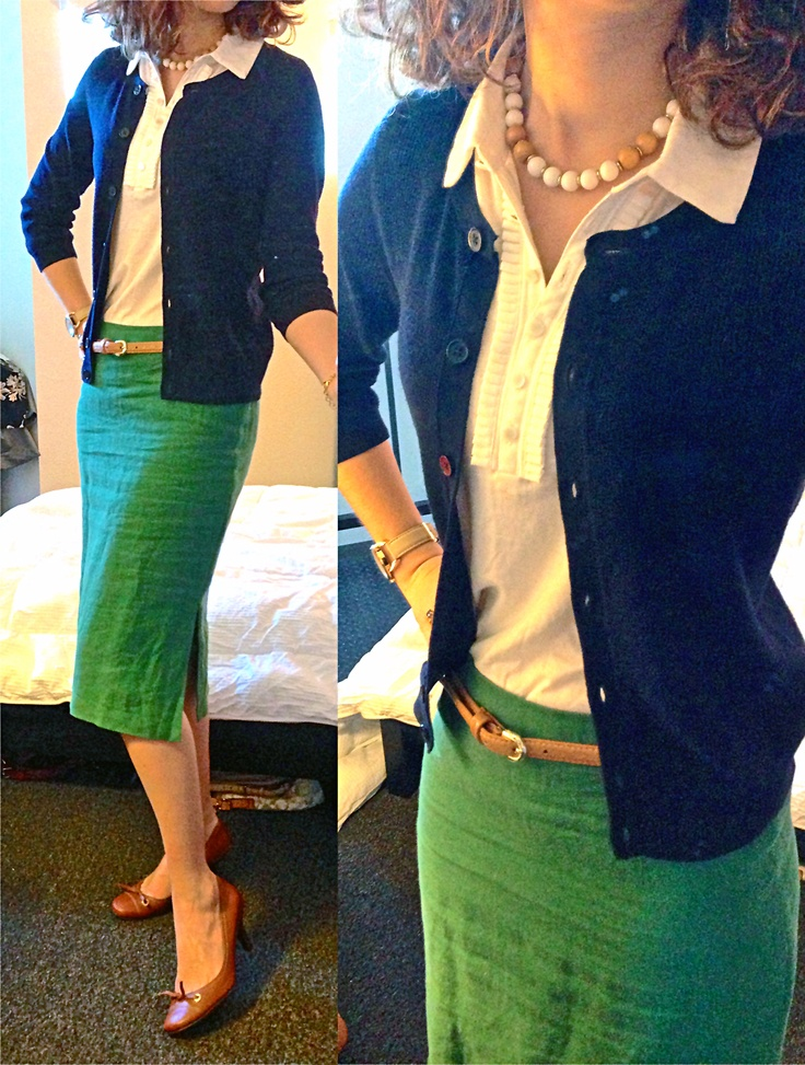 White polo: Talbots, gift; navy cardigan: Talbots, gift; green linen pencil skir…