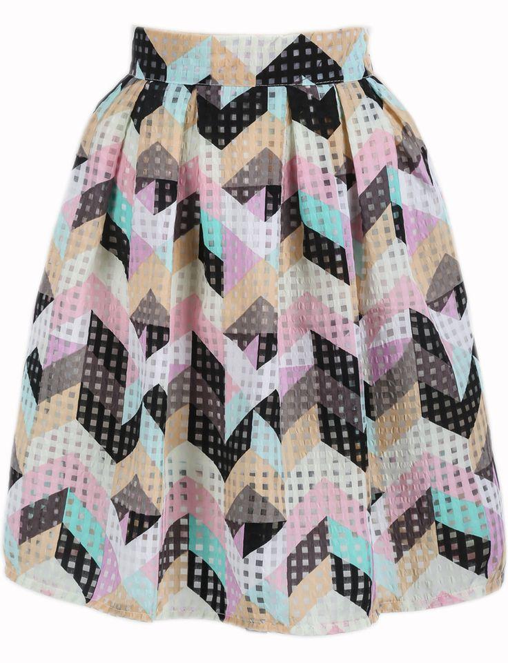 Multicolor Plaid Geometric Print Pleated Skirt $15