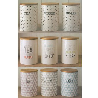 3 Retro Ceramic Storage Jars with Bamboo Lids Tea Coffee Sugar Canisters