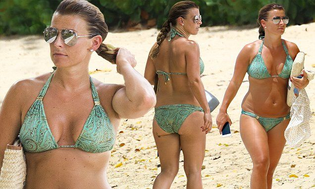 Coleen Rooney offsets her Barbados tan in paisley green bikini