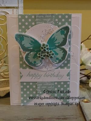 #inkadoodlecreations, stylin stampin inkspiration, happy birthday handmade cards, watercolor wings, birthday blossoms, #stampinup, stampin up