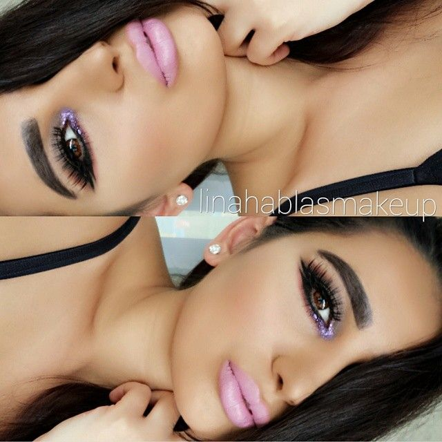 LINA HABLAS @linahablas_makeup Instagram photos | Webstagram hanel fondation. glitter @Violet Voss 'Parker'. lashes @eldorafalseeyelashes 'H154&H126'. brows @anastasiabeverlyhills 'ebony powder'.Brushes @Hairandmakeupaddiction.lipstick @Coloured Raine 'lipnotize'