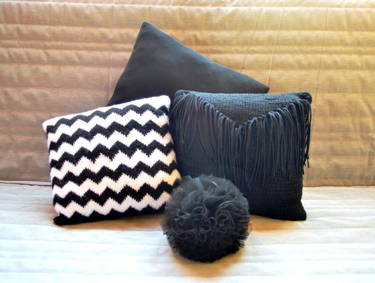 Black&white pillow  #pillow #handknitted #knitting