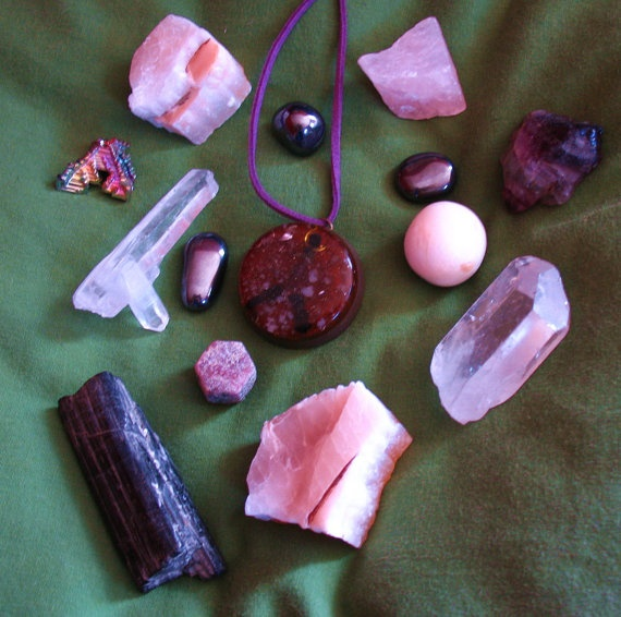 orgonite peenergy pendant and bunch of crystals  by Orgoknights, $37.00