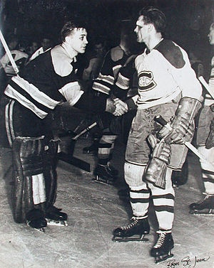 "Black Eyed Boston Goalie ""Sugar"" Jim Henry Shakes Hands With a Bloodied Maurice Richard After Montreal Defeated Boston In Game 7 Of The 1952 Semi-Finals; One of the most famous photos in Original 6 Hockey"