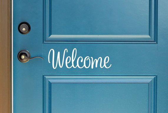 Cute Welcome Vinyl Door Decal Front Door Decals For Home And - Custom vinyl decals   removal options
