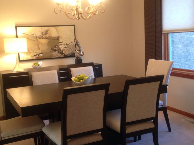 Dining Room | Canadel Table Chairs Buffet | Abstract Art | Custom Window Panels