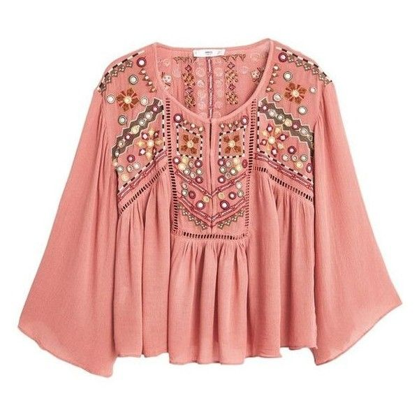Mango Embroidered Boho Blouse, Pink ❤ liked on Polyvore featuring tops, blouses, embroidery blouses, boho blouse, pink blouse, boho chic tops and pink top