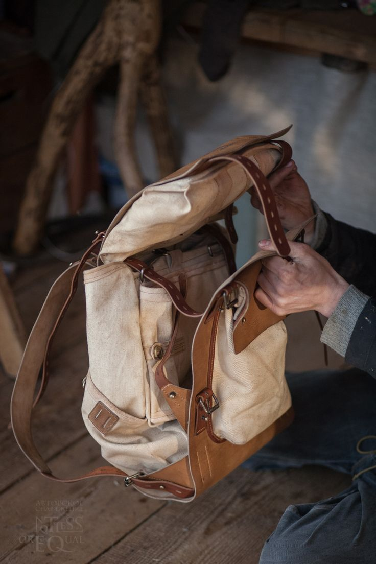 Leather and canvas backpack 078