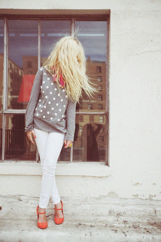 Polka dot sweater and white pants