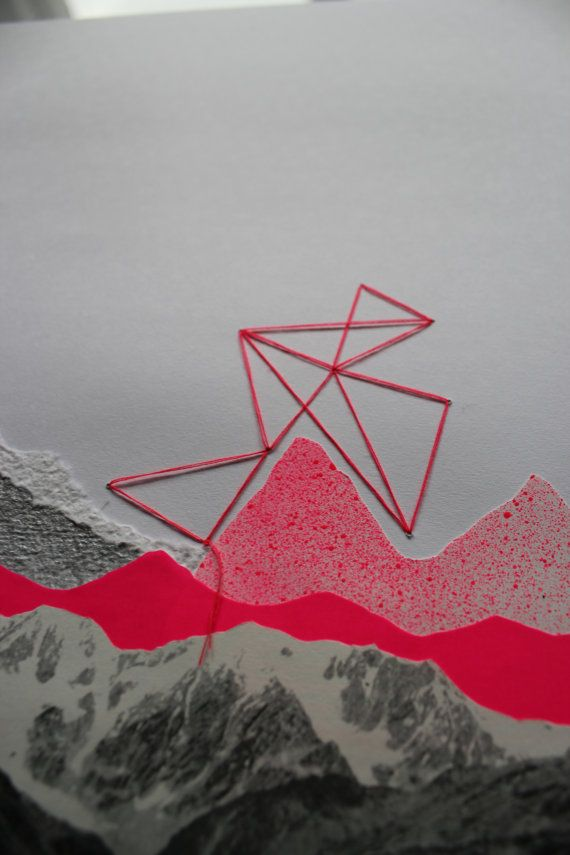 original abstract collage the pink mountains by tessaannex