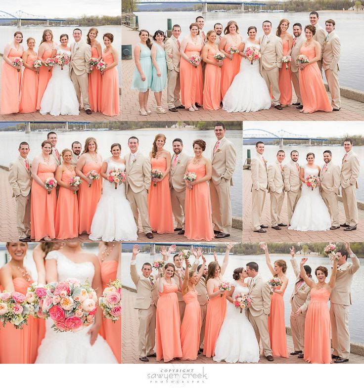 Coral & Tan Wedding: LaCrosse, WI: Sawyer Creek Photography
