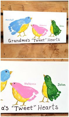 "Grandma's ""tweet"" hearts footprint canvas - what a cute gift from the grandkids for Mother's day or grandparents day!"