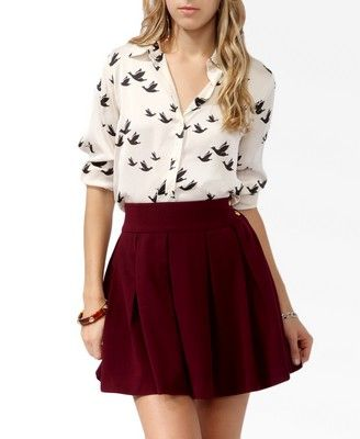 Satin Bird Print Shirt - $19.80 at Forever 21. I'm so in love with this shirt!