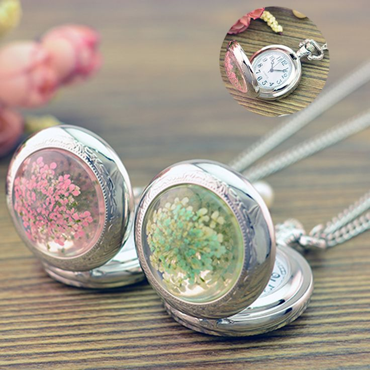 Fine Jewelry Cute Dry Flowers Round Glass Pendant Necklace pocket watch Long Chain Necklace Vintage Necklace For Women girl Gift