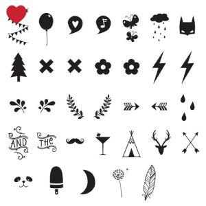 Lichtbox symbolen set voor onze hippe en trendy A4 en A5 lightboxen @jetjesenjobjes Deze special edition bestaat uit 85 cijfers en symbolen