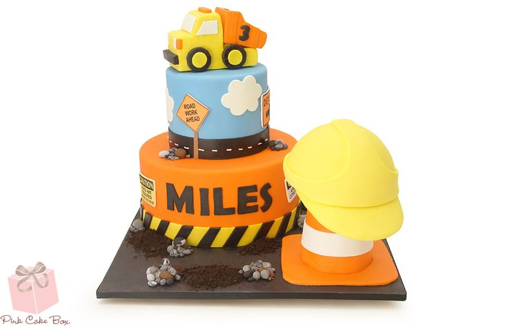 Boys Construction Themed Cake by Pink Cake Box