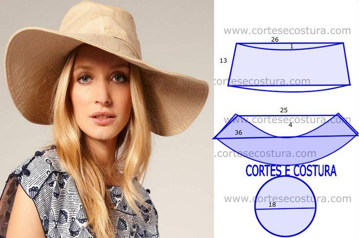 Desenho com medidas elucidativo de como fazer o molde de chapéu de abas largas…