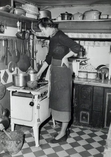 Julia Child in her tiny Paris kitchen. ...(Perseverance and determination are ingredients for success)