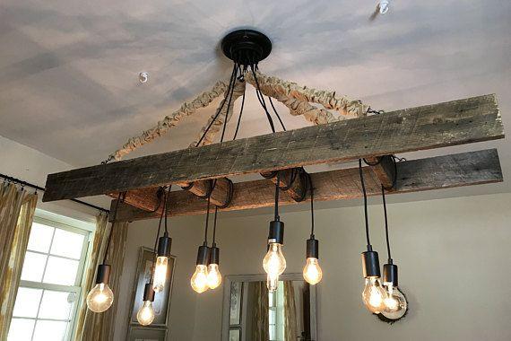 Vintage Farmhouse Ladder Chandelier With Edison Bulbs Made Etsy Farmhouse Light Fixtures Farmhouse Lighting Vintage Farmhouse