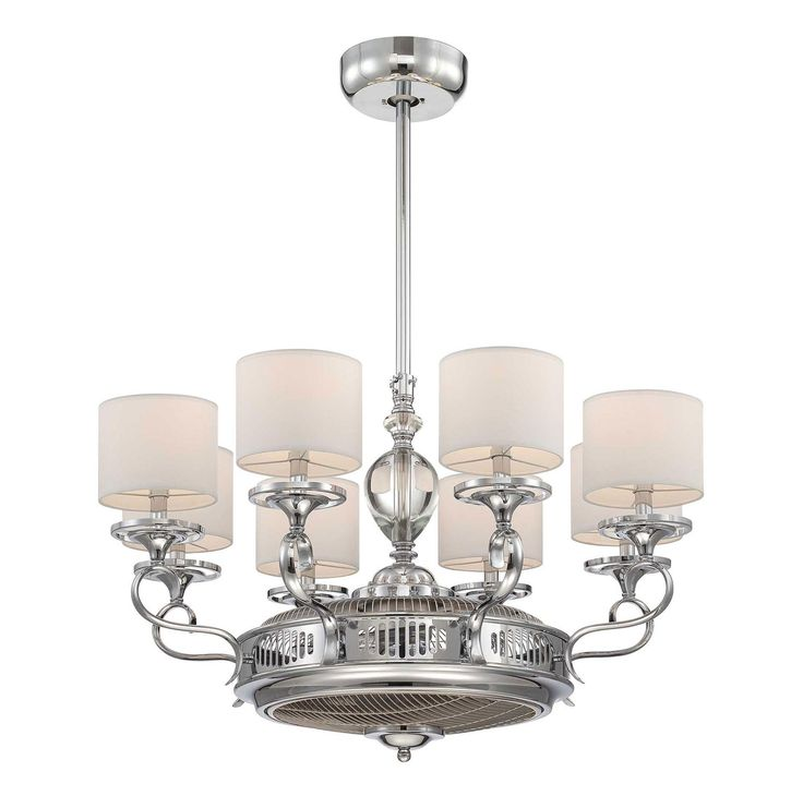Levantara D'lier Chandelier Ceiling Fan with Light features air circulation and air- ionization all in one. Beautify your home while improving the quality of the air you breath. Comes with white shades and a polished chrome finish. Eight 13 watt, 120 volt CF medium base compact fluorescent bulbs and RMT012 remote control are included. UL listed. 34 inch width x 40.5 inch height.