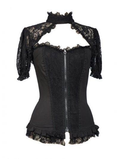 Home > Gothic > Black Sexy Short Lace Sleeves Corset Style Womens