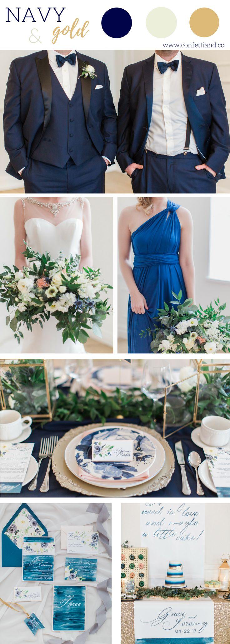 Navy and Gold Wedding Inspiration #navyblue #goldwedding #walperhotel