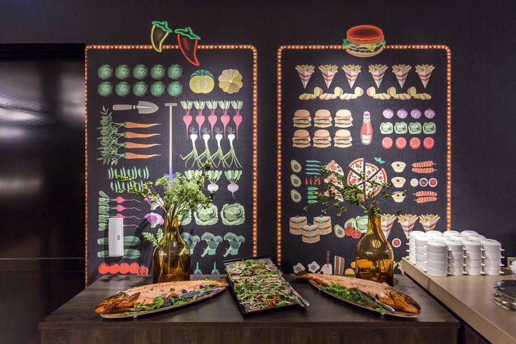 wallpaper for restaurant  food display
