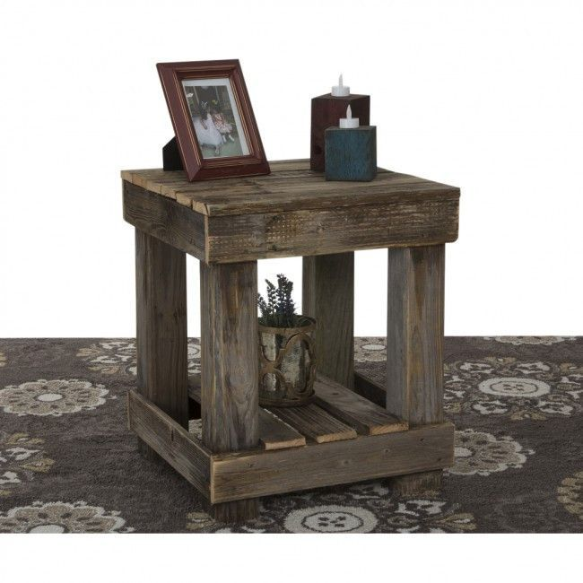 reclaimed wood end table paletten ideen selbermachen. Black Bedroom Furniture Sets. Home Design Ideas