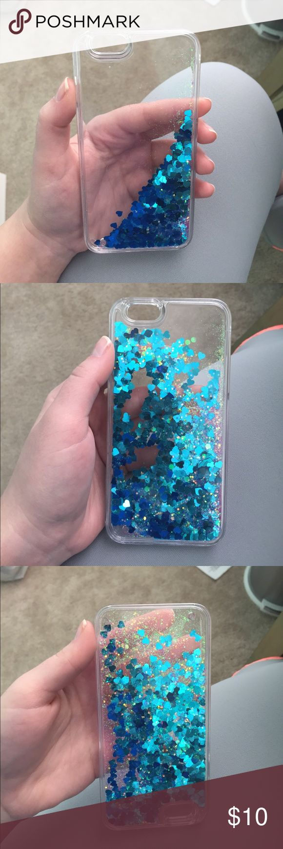 Sparkly water sequin phone case New never used! For iPhone 6. Sequins move as you turn it. Thick and sturdy plastic Other