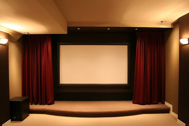 Recessed Curtains To Protect Screen Home Theatre Design