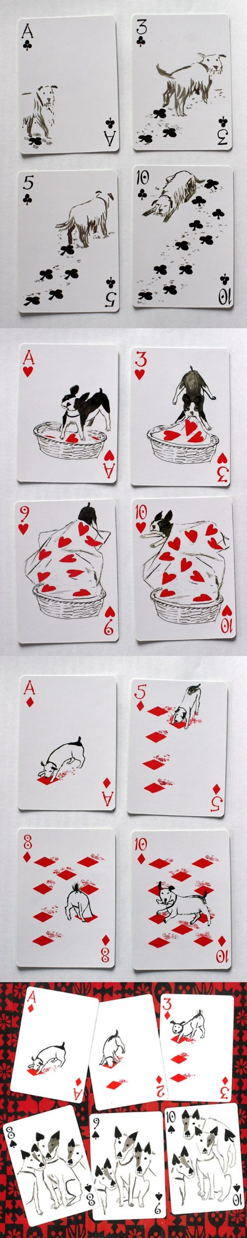 "This has to be one of the cutest decks of cards ever!  ""Pack of Dogs"" playing cards are from a series of four decks designed by John Littleboy in 2006, & produced by Inky Dinky. The pip cards have been transformed from the standard positions into a sequence of images which tell a story. The other three decks are Mermaid Queen, Bag of Bones, & Kitten Club. They're priced at $9.50 from http://www.artiphany.com/co... & other sources.  #myt"
