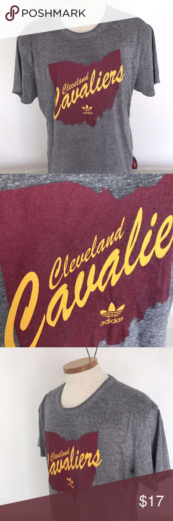 """Cleveland Cavaliers Adidas Men's XL T-Shirt Cleveland Cavaliers Adidas Men's T-Shirt Gray Short Sleeve Top Size XL. Some wear on the label. No Rips, Stains or holes. Smoke Free Home. Approximate Measurements:  Length: 27"""" inches Chest (laying Flat underarm to underarm) : 22"""" inches adidas Shirts Tees - Short Sleeve"""