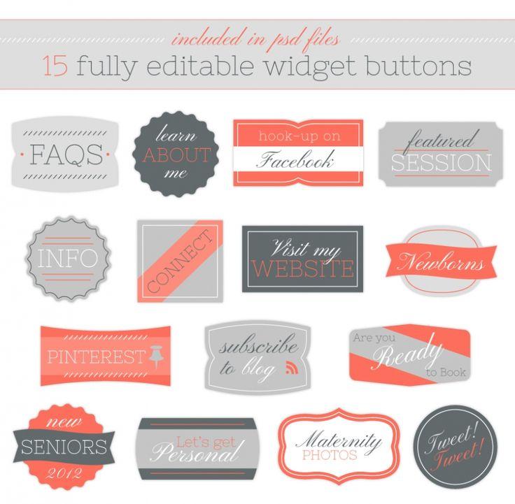 editable buttons: Webdesign, Blog Layout Buttons, Editing Buttons, Web Design, Buttons Ideas, Website Buttons, 15 Customiz, Icons Design, Blog Buttons