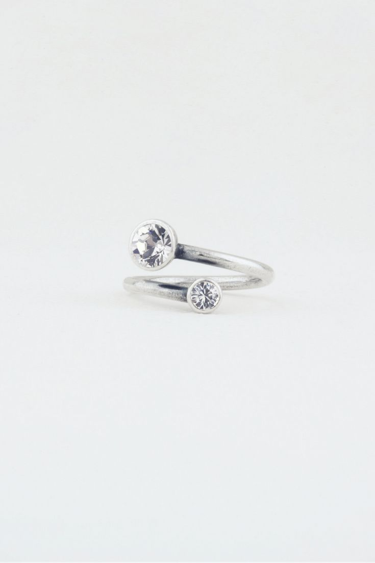 Precious Basics Collection (Starry Night Ring RR217 N/P) - Burnished silver wrap ring created with Swarovski® crystals.