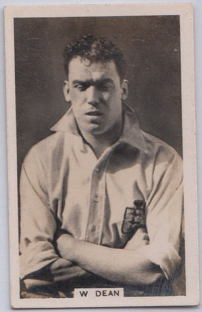 "Sports Card Forum - Top 50 Football Cards (Mostly Vintage) : #9. 1935 John Scerri's Cigarettes Dixie Dean. William ""Dixie"" Dean was one of the most prolific scorers ever. Dean still holds the single-season Premiere League record with 60 goals for Everton in 1927. Dean scored 18 goals in 8 games for the English national team. Dean never competed in a World Cup since England did not participate in a World Cup until 1950. This is Dean's rarest card, John Scerri's Cigarettes' ""International…"