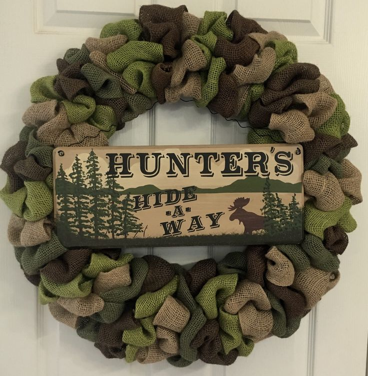 A personal favorite from my Etsy shop https://www.etsy.com/listing/265471053/mhandmade-camouflage-burlap-wreath-with
