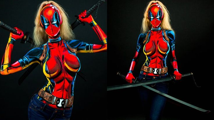 By HellHorror.com LADY DEADPOOL Body Paint Cosplay [Video]: Check out this awesome Lady Deadpool body paint cosplay… #Deadpool #Video
