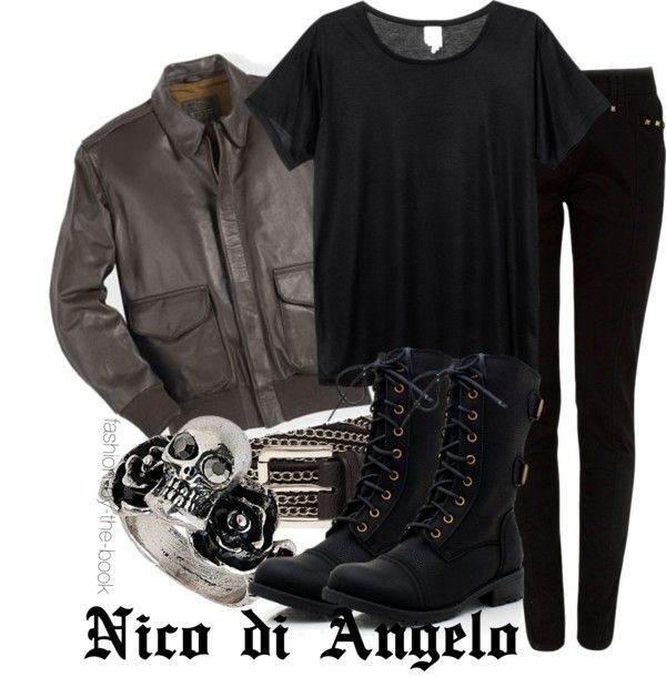 Outfit inspired by Nico di Angelo from Rick Riordan's The Heroes of Olympus series